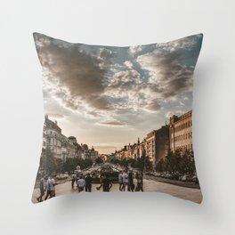 Wenceslas Square in Prague (Czech Republic) Throw Pillow