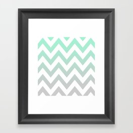 MINT GRAY CHEVRON FADE Framed Art Print