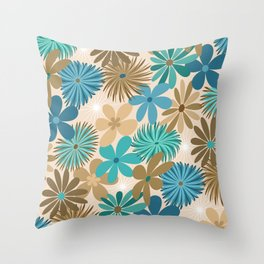 Funky Flowers in Teal, Blue and Brown Throw Pillow