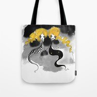 twins Tote Bags featuring Twins by Dnzsea