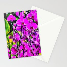 Purple Painterly Orchid Vines Stationery Cards