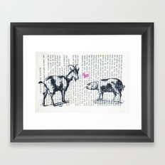 Goat Pig Love Framed Art Print