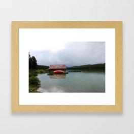 Maligne Lake Boathouse Framed Art Print