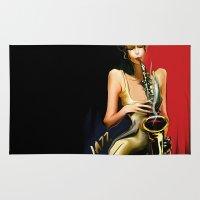 jazz Area & Throw Rugs featuring jazz by tatiana-teni