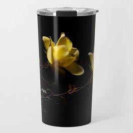 Yellow roses on black -4 Travel Mug