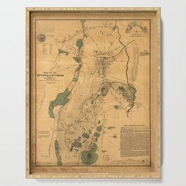 Vintage Battle of Gettysburg Map (1864) Serving Tray