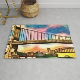 New York & Queens Hell Gate and Triborough Bridges Sunset Landscape Painting Rug
