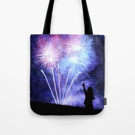 Blue and pink fireworks Tote Bag