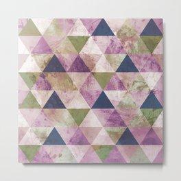 Blue, Green & Purple Triangle Geometric Design Metal Print