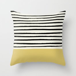 Daffodil Yellow x Stripes Throw Pillow