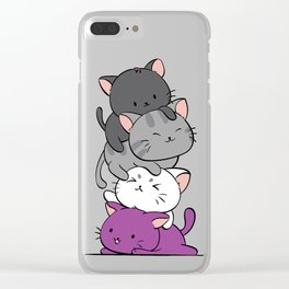 Asexual Pride Cats Anime - Ace Pride Cute Kitten Stack Clear iPhone Case