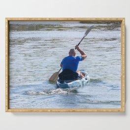 Kayaker Man Paddle Kayak. Kayaking, Paddling, Canoeing. Serving Tray