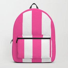 Magenta (Crayola) pink - solid color - white vertical lines pattern Backpack
