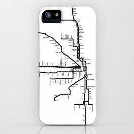 Chicago CTA Map, Chicago Map Art, CTA Art, Chicago Wall Art, Chicago Art, L Train, Art Print iPhone Case