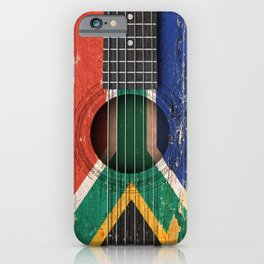 Old Vintage Acoustic Guitar with South African Flag iPhone Case