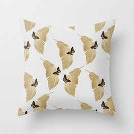 Butterfly & Palm Throw Pillow