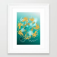 music notes Framed Art Prints featuring Music Notes  by HK Chik