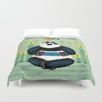 trumpet Duvet Covers featuring Panda Piazzolla and The Trumpet Bird by Oliver Lake