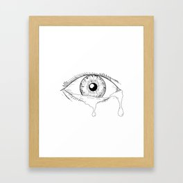 Human Eye Crying Tears Flowing Drawing Framed Art Print