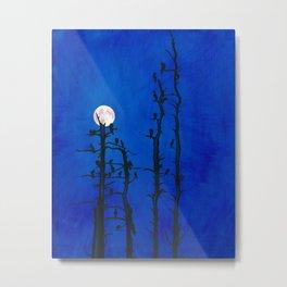 Moonlit bird silhouettes Metal Print