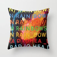 radiohead Throw Pillows featuring Radiohead - In Rainbows by NICEALB