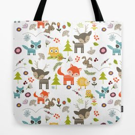 Cute Woodland Creatures Pattern Tote Bag
