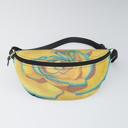 Yellow and Turquoise Rose on Stripes Fanny Pack