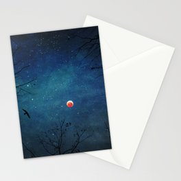 Blood Moon Through Trees Stationery Cards