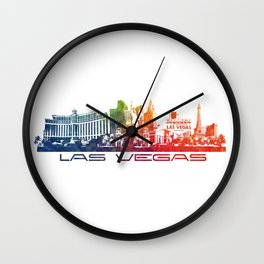 Las Vegas skyline color Wall Clock