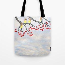 cedar waxwings and crabapples Tote Bag