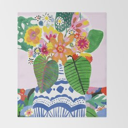 Abstract Flower Bouquet Throw Blanket