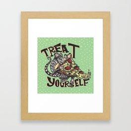 Treat Yourself Pizza Rat Framed Art Print