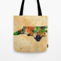 north carolina Tote Bags featuring North Carolina by TiannaHarman