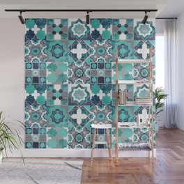 Spanish moroccan tiles inspiration // turquoise green silver lines Wall Mural