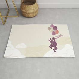 Flying Birthday Bunny (Purple) Rug