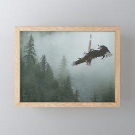 Battle for the Cedars - Bald Eagles Wildlife Scene Framed Mini Art Print