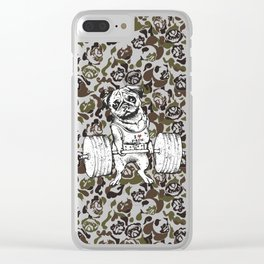 Pug Lift Camo Clear iPhone Case