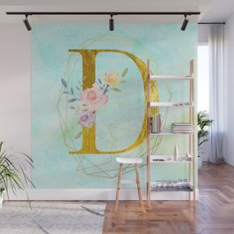 Faux Gold Foil Alphabet Letter D Initials Monogram Frame with a Gold Geometric Wreath Wall Mural