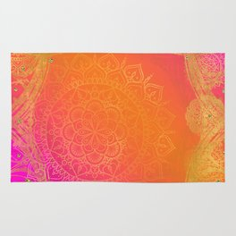 Fuchsia Pink Orange & Gold Indian Mandala Glam Rug