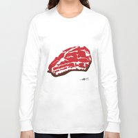 meat Long Sleeve T-shirts featuring meat by Takeru Amano