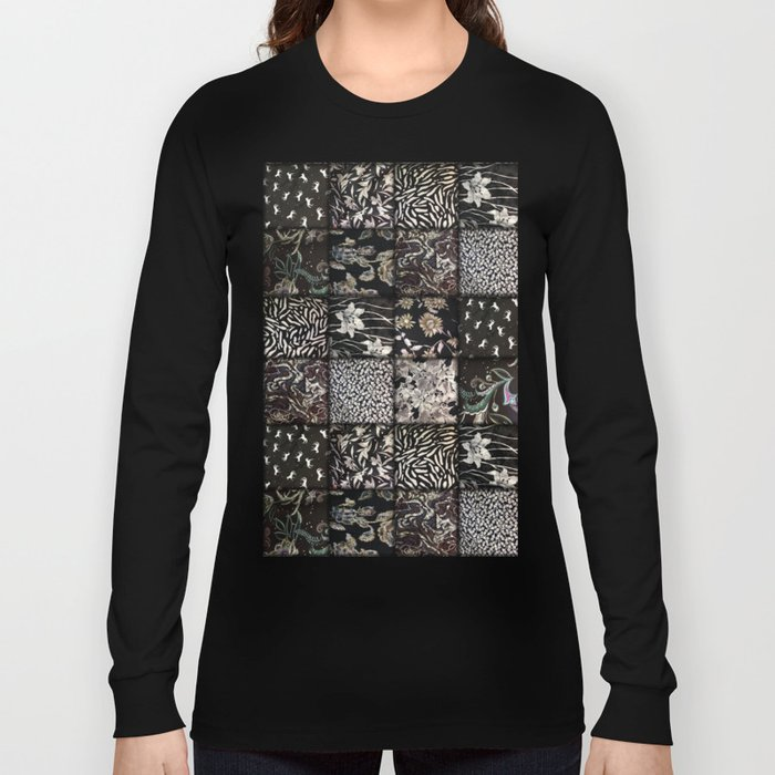 Faux Patchwork Quilting - Black Long Sleeve T-shirt