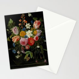 "Jan van Kessel de Oude ""Tulips, peonies, chicory, carnations, cherry blossom and other flowers"" Stationery Cards"