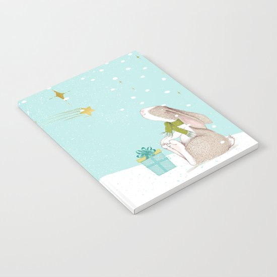 Bunny looking for Christmas- Beautiful watercolor illustration for children and all Notebook