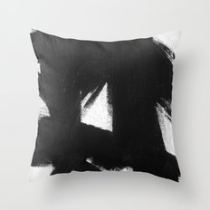 No. 92 - Modern abstract black and white textured painting Throw Pillow