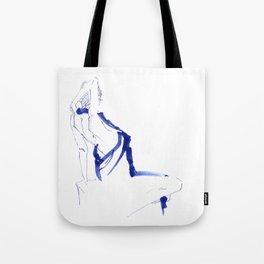 ...In a Blue Dress Tote Bag