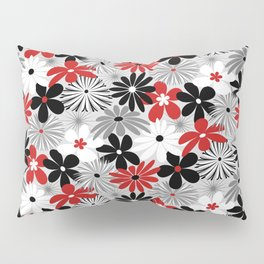 Funky Flowers in Red, Gray, Black and White Pillow Sham