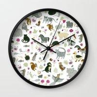 toddler Wall Clocks featuring Animal Chart by Yuliya