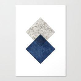 Marble blue navy diamond Canvas Print
