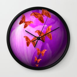 Violet Flower Bud With Apollo Butterflies Illustration On A Black Background #decor #society6 Wall Clock