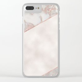 French polished rose gold marble & pearl Clear iPhone Case